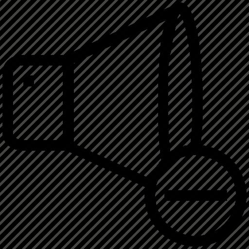 minus, multimedia, music, music sound, speaker, volume icon