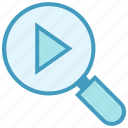 find, magnifier, media play, multimedia, search video icon