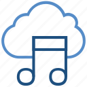cloud, multimedia, music note, storage, wireless icon