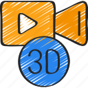 augmented, d, reality, three, video icon