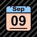 calendar, date, sa, schedule icon, sep, september icon