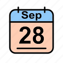 calendar, date, schedule icon, sep, september, th icon