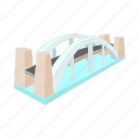 architecture, bridge, cartoon, design, modern, over, river icon