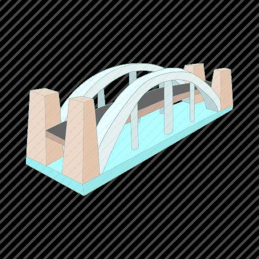 architecture, bridge, cartoon, design, modern, over, river icon