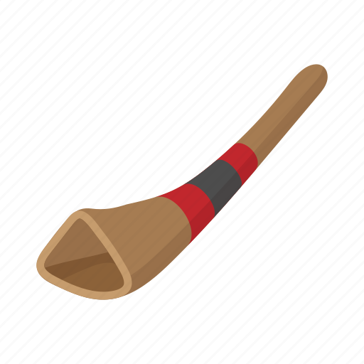 australian, cartoon, didgeridoo, instrument, music, vectior, wind icon