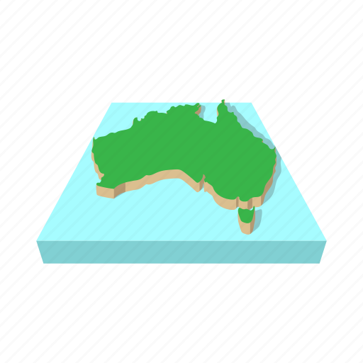 australia, cartography, cartoon, country, geography, map, vectior icon