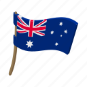 australia, australian, cartoon, flag, national, vectior, wind icon