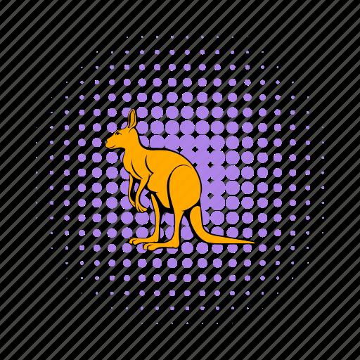 animal, australia, comics, kangaroo, mammal, marsupial, wildlife icon