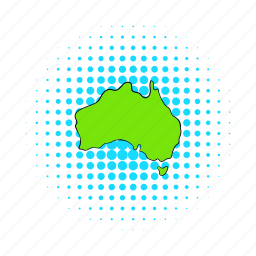 australia, cartography, comics, continent, country, geography, map icon