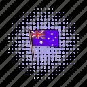 australia, australian, comics, flag, nation, national, wind