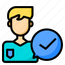 authentic, business, check, device, looking, people, technology icon