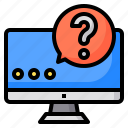 authentic, business, device, looking, people, question, technology icon