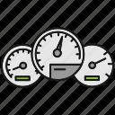 automobile, car, dashboard, gauge, speed, speedometer, vehicle icon