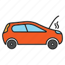 auto, automobile, breakdown, broken, car, smoke, vehicle icon