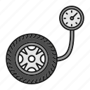 automobile, car, gauge, pressure, tire, tyre, vehicle