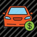 auto, automobile, car, cost, dollar, price, vehicle icon