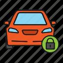 automobile, car, lock, padlock, protection, security, vehicle icon