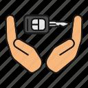 auto, automobile, car key, lock, palms, unlock, vehicle icon