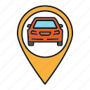 automobile, car, location, pin, pinpoint, pointer, workshop icon