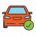auto, automobile, car, check, checkmark, maintenance, vehicle icon