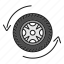 arrow, auto, automobile, car wheel, rim, tire, vehicle icon