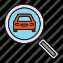 auto, automobile, car, check, examine, magnifier, search icon