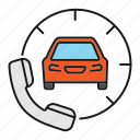 auto, automobile, car, handset, phone call, taxi, workshop icon