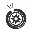 automobile, broken, car, puncture, punctured, tire, vehicle icon