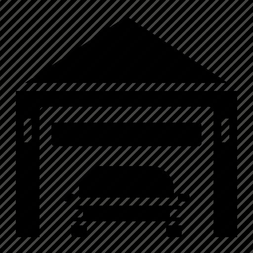 building, car, fix, garage, service icon
