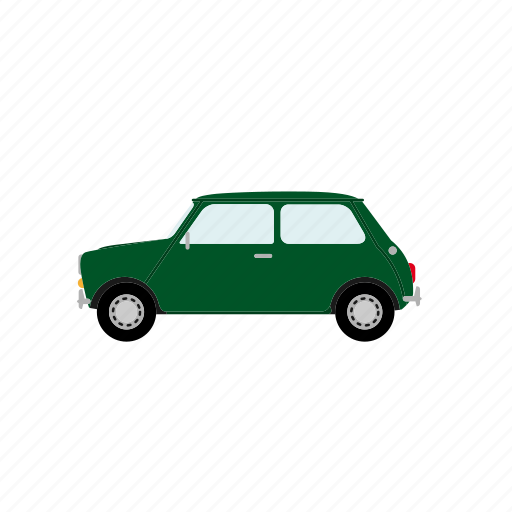 automotive, car, compact, small, transportation, vehicle, vintage icon