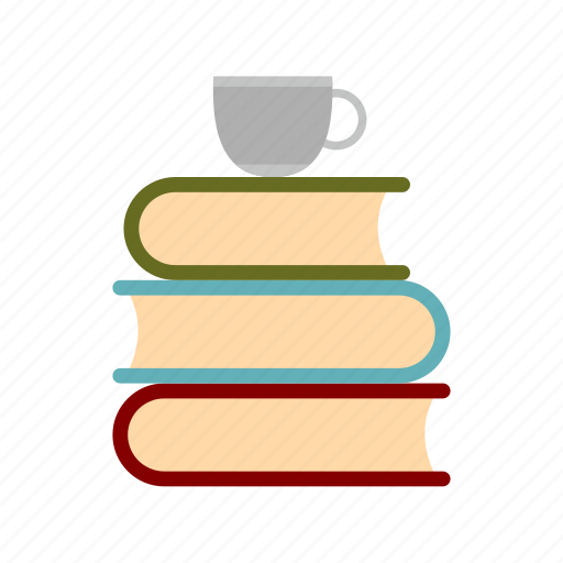 books, cup, education, learning, literature, page, tea icon
