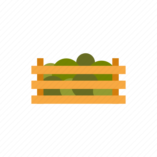 box, crate, food, fresh, healthy, vegetables, wooden icon