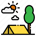 camping, forest, hobbies, tent, travel icon