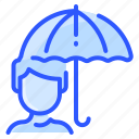 autumn, man, protection, rain, umbrella