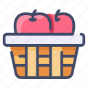 apple fruit, autumn, basket, food, fruit, picnic icon