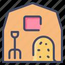 barn, farm, hay, hayloft, haysack, pitchfork icon