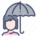 autumn, protection, rain, umbrella, woman icon
