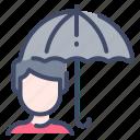 autumn, man, protection, rain, umbrella icon