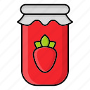 autumn, fall, jam, jar, jelly, season, strawberry icon