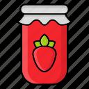 autumn, fall, jam, jar, jelly, season, strawberry