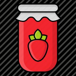 autumn, fall, jam, jar, jelly, season, strawberry icon