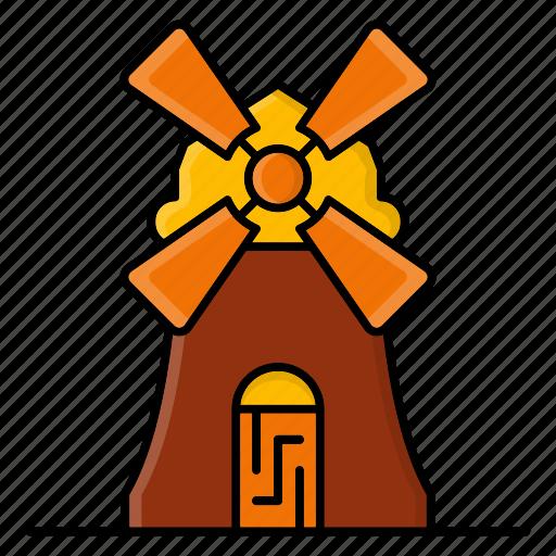 autumn, building, estate, farm, nature, season, windmill icon