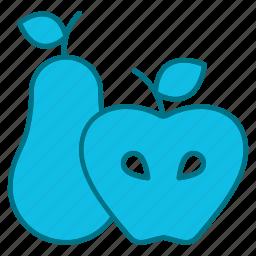 appel, autumn, fruit, nature, pear, produce, season icon