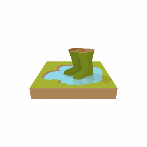 boot, cartoon, clothing, green, rubber, water, waterproof icon