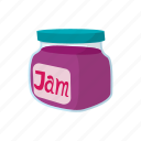 cartoon, food, fruit, jam, jar, jelly, sweet icon