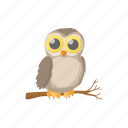 animal, bird, cartoon, nature, owl, wild, wildlife icon