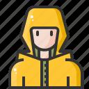 avatar, human, man, people, rain, raincoat, user icon