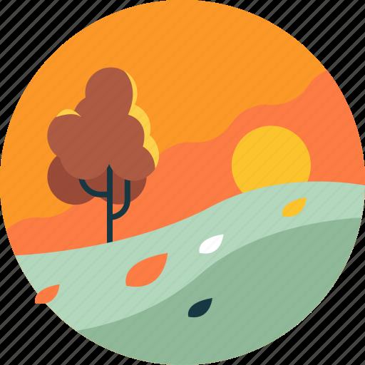 autumn, environment, leaf, nature, season, sunset, tree icon