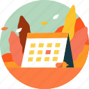 autumn, calendar, fall, leaf, nature, plant, season icon