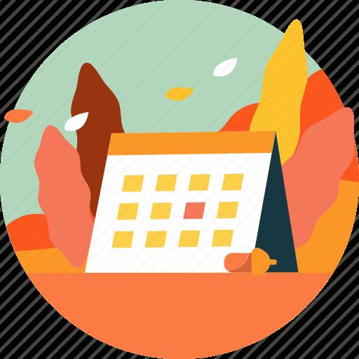 autumn, calendar, fall, leaf, nature, plant, season icon